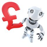3d Funny cartoon robot character holding a UK Pounds Sterling currency symbol. 3d render of a funny cartoon robot character holding a UK Pounds Sterling currency vector illustration