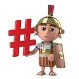3d Funny cartoon Roman gladiator centurion holding a hashtag symbol. 3d render of a funny cartoon Roman gladiator centurion holding a hashtag symbol Stock Photography