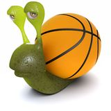 3d Funny cartoon snail with a basketball instead of a shell. 3d render of a funny cartoon snail with a basketball instead of a shell Royalty Free Stock Images