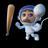 3d Funny cartoon spaceman astronaut character with baseball bat and ball in space. 3d render of a funny cartoon spaceman astronaut character with baseball bat Stock Images