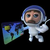 3d Funny cartoon spaceman astronaut character using a debit card in space Royalty Free Stock Photo