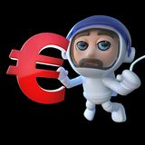 3d Funny cartoon spaceman astronaut holding a Euro currency symbol. 3d render of a funny cartoon spaceman astronaut holding a Euro currency symbol Royalty Free Stock Images