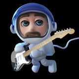 3d Funny cartoon spaceman astronaut playing an electric guitar in space. 3d render of a funny cartoon spaceman astronaut playing an electric guitar in space Royalty Free Stock Image