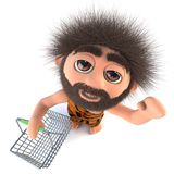 3d Funny cartoon stoneage caveman character holding a shopping basket. 3d render of a funny cartoon stoneage caveman character holding a shopping basket Stock Photos