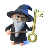 3d Funny cartoon wizard magician character points to a gold key with his magic wand. 3d render of a funny cartoon wizard magician character points to a gold key Stock Photo