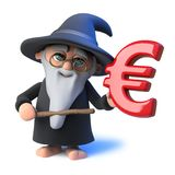 3d Funny cartoon wizard magician pointing a magic wand at Euro currency symbol. 3d render of a funny cartoon wizard magician pointing a magic wand at Euro Stock Photo