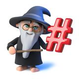 3d Funny cartoon wizard magician pointing a wand at a hashtag symbol. 3d render of a funny cartoon wizard magician pointing a wand at a hashtag symbol Royalty Free Stock Images