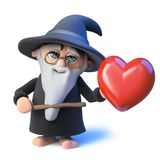 3d Funny cartoon wizard magician pointing a wand at a romantic red heart. 3d render of a funny cartoon wizard magician pointing a wand at a romantic red heart