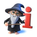 3d Funny cartoon wizard magician points to an information symbol with his magic wand. 3d render of a funny cartoon wizard magician points to an information Royalty Free Stock Images