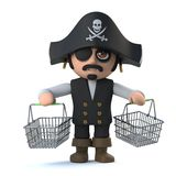 3d Funny pirate captain character has been shopping Stock Images