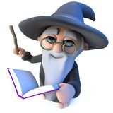 3d Funny wizard magician character waving his wand at his magic book of spells royalty free illustration