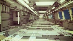 3d render. Futuristic spaceship interior. Corridor royalty free stock images