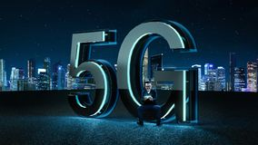 3D Render 5G futuristic font with blue neon light. Businessman excited sit on the 3D render 5G futuristic font with blue neon light . Mobile network speed vector illustration