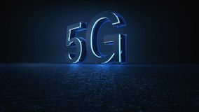 3D Render 5G futuristic font with blue neon light. Mobile network speed communication technology concept vector illustration