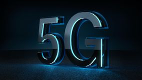 3D Render 5G futuristic font with blue neon light. Mobile network speed communication technology concept royalty free illustration