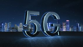 3D Render 5G futuristic font with blue neon light. Mobile network speed communication technology concept stock illustration