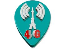 3d render 4G Speed Tower Connection. Illustration image Stock Photography