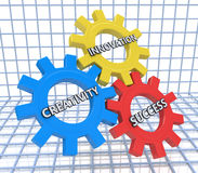 3d render of gears with the words creativity, innovation and suc. Cess Royalty Free Stock Photography