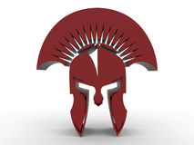 3D render gladiator helm illustration. 3D render illustration of a red gladiator helm extruded logo. The concept is isolated on a white background with shadows Royalty Free Stock Images