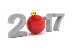 3d render - glitter ball - happy new year 2017 - red. 3d render - The year 2017 in 3D letters with a red glitter ball as Zero over white background vector illustration