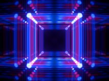 3d render, glowing lines, neon lights, abstract psychedelic background, cube cage, ultraviolet, infrared, spectrum vibrant colors. 3d render of glowing lines stock illustration