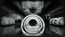 3d render, glowing lines, tunnel, neon lights, virtual reality, abstract background, square portal, arch, Black and White vibrant. Render, glowing lines, tunnel royalty free illustration