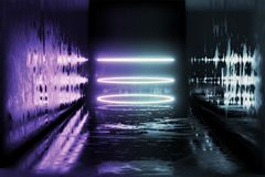 3d render, glowing lines, tunnel, neon lights, virtual reality, abstract background, square portal, arch, pink blue spectrum vibra. Render, glowing lines, tunnel royalty free illustration
