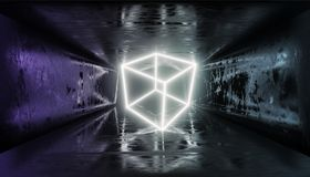 3d render, glowing lines, tunnel, neon lights, virtual reality, abstract background, square portal, arch, pink blue spectrum vibra. Render, glowing lines, tunnel stock illustration