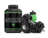 3d render of glutamine powder with bottle and dumbbells Stock Image