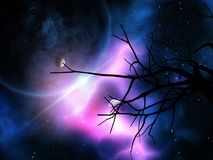 3D gnarly tree against night sky with planets Royalty Free Stock Photo