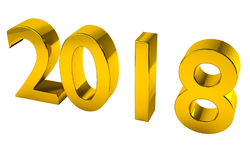2018 3D Render in Gold, with clipping path for transparency or al Stock Image