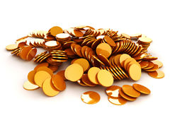 3d render of gold coins. On white background Royalty Free Stock Image
