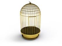 3d render of a golden birdcage Royalty Free Stock Photos