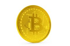 3d render of golden bitcoin on white background. Physical bit coin - Digital currency - Cryptocurrency Royalty Free Stock Photos