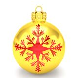 3d render - golden christmas bauble over white background Royalty Free Stock Image
