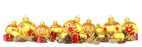 3d render - golden christmas baubles over white background. 3d render of many golden christmas baubles and anise, cinnamon sticks, walnuts and presents over Royalty Free Stock Photos