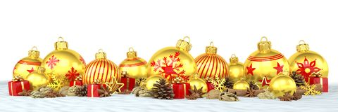 3d render - golden christmas baubles over white background. 3d render of many golden christmas baubles and anise, cinnamon sticks, walnuts and presents on snow Royalty Free Stock Images