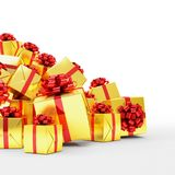 3d render - Golden christmas gift boxes with red ribbons. Over white background Royalty Free Stock Photos