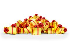 3d render - Golden christmas gift boxes with red ribbons. Over white background Vector Illustration