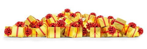 3d render - Golden christmas gift boxes with red ribbons. Over white background Royalty Free Stock Photography