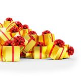 3d render - Golden christmas gift boxes with red ribbons. Over white background Stock Photo