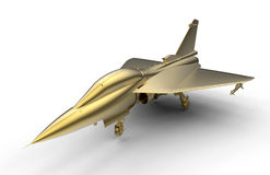 3D render - golden jet fighter. 3D render illustration of a golden jet fighter. The fighter is isolated on a white background with soft shadows Royalty Free Stock Photos