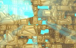 3d render, golden modern wired cube wall texture, random clusters digital illustration, abstract geometric background. Wealth and Prosperity reach concept stock illustration