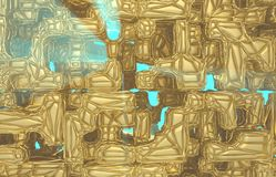 3d render, golden modern wired cube wall texture, random clusters digital illustration, abstract geometric background. Wealth and Prosperity reach concept royalty free illustration