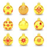 3d render - golden of red christmas bauble over white background. 3d render golden of red christmas bauble with pattern over white background - merry christmas Royalty Free Stock Photo