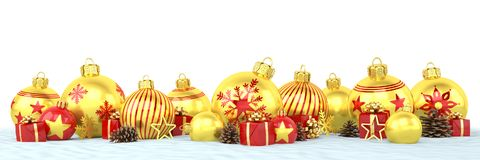 3d render - golden and red christmas baubles over white   Royalty Free Stock Photo