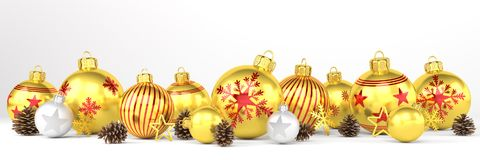 3d render - golden and silver christmas baubles over white backg. 3d render of many golden and silver christmas baubles and christmas decorations over white Royalty Free Stock Photography