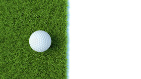 3d render of golf ball on green lawn isolated on white. Background Royalty Free Stock Photography