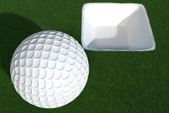 3d render of golf ball in front of white hole royalty free illustration