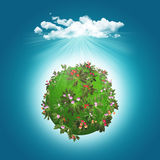 3D render of a grassy globe with flowers and cloud Stock Photos